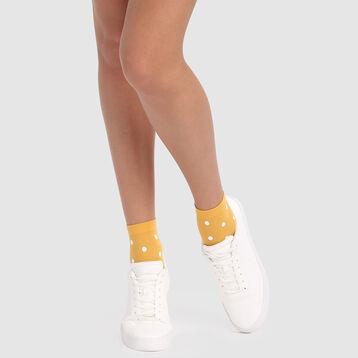 Socquettes fantaisie imprimé pois rétro jaune or Style de Dim 40D, , DIM