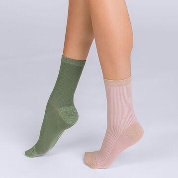 Lot de 2 mi-chaussettes Coton style côtellées brillant Femme, , DIM