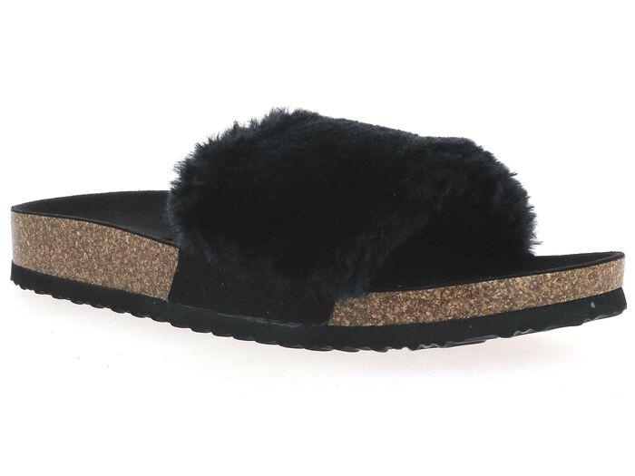 Chaussons type claquettes avec fourrure noire Femme-DIM
