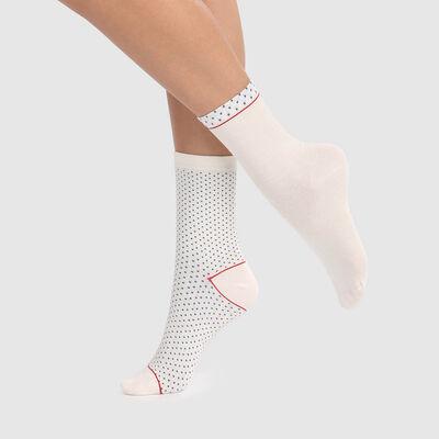 Lot de 2 paires de chaussettes ivoire coton motif plumetis Coton Style , , DIM