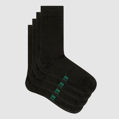 Lot de 2 paires de chaussettes homme lyocell côtes gris Green by Dim, , DIM