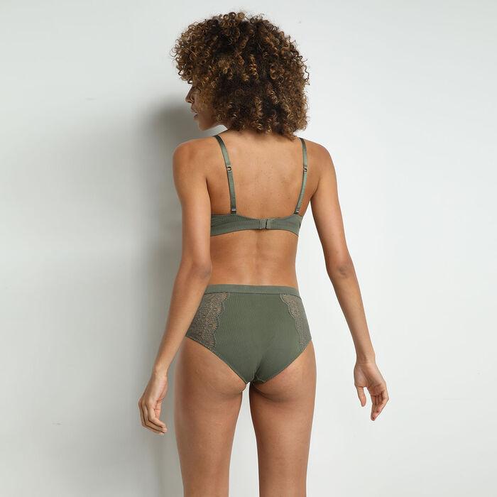 Culotte taille haute en microfibre et dentelle Vert Kaki Jolie Madame, , DIM