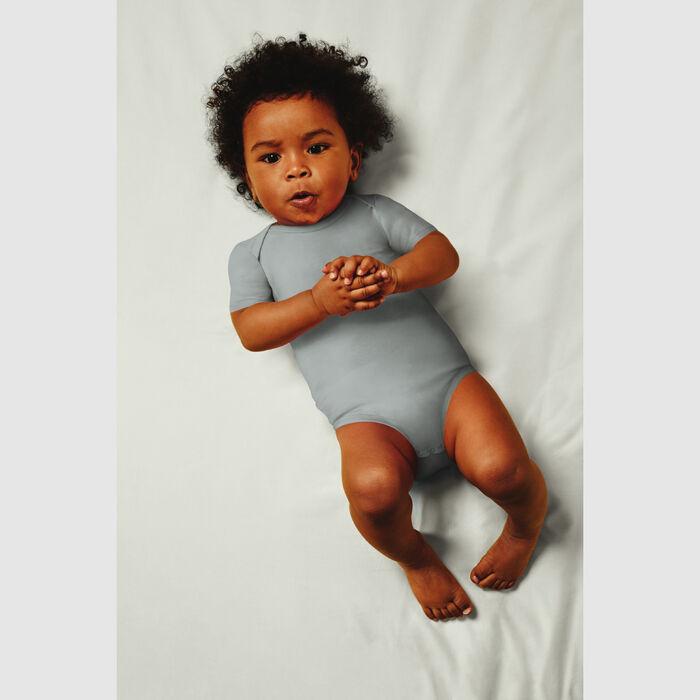 Lot de 2 body coton bio cache coeur à manches courtes Kaki Dim Baby, , DIM