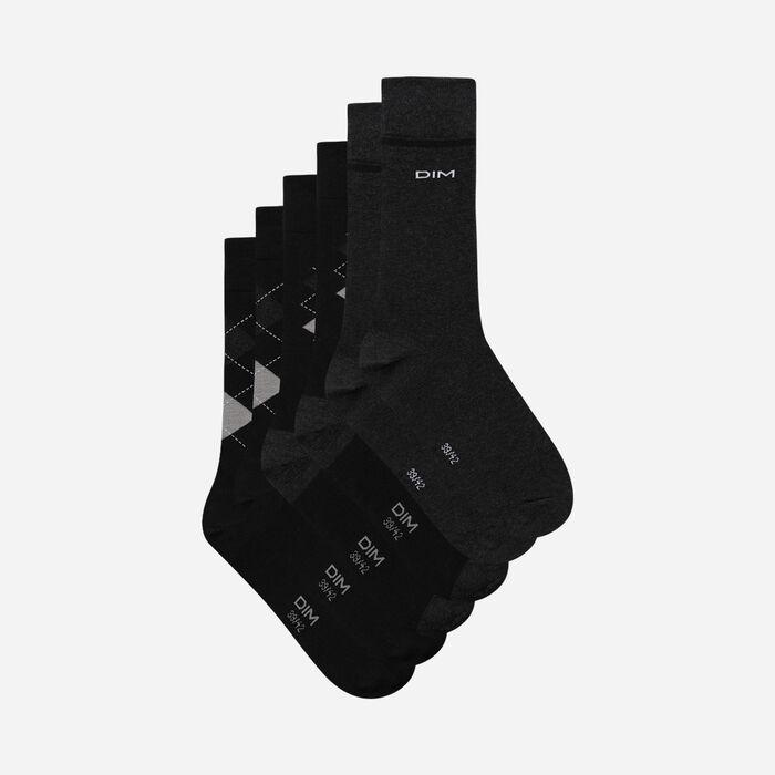 Lot de 3 paires de chaussettes homme motifs écossais Noir Coton Style, , DIM