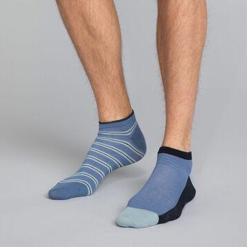 Lot de 2 paires de socquettes bleu encre rayures Homme, , DIM