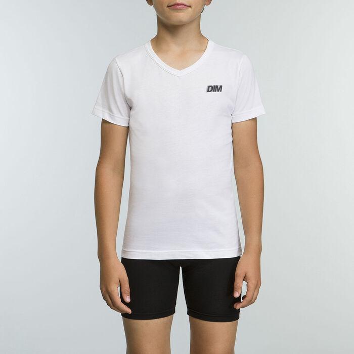 Tee-shirt Blanc pour garçon 100% coton Basic Sport, , DIM