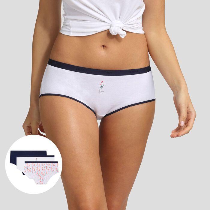 Lot de 3 boxers imprimé pivoine Les Pockets Coton Stretch Dim, , DIM