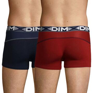 Lot de 2 boxers rouge craie et bleu denim 3D Flex Air pour homme, , DIM
