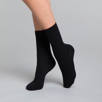 Lot de 2 paires de chaussettes noires Femme Pur Coton-DIM