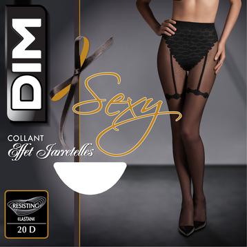 Collant So Sexy effet jarretelles noir 20D, , DIM