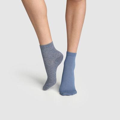 Lot de 2 paires de socquettes femme Bleu Minuit Denim Basic Coton, , DIM