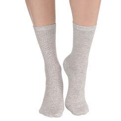 Lot de 2 paires de chaussettes gris chiné à plumetis Femme, , DIM
