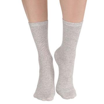cf822547222 Lot de 2 paires de chaussettes gris chiné à plumetis Femme-DIM