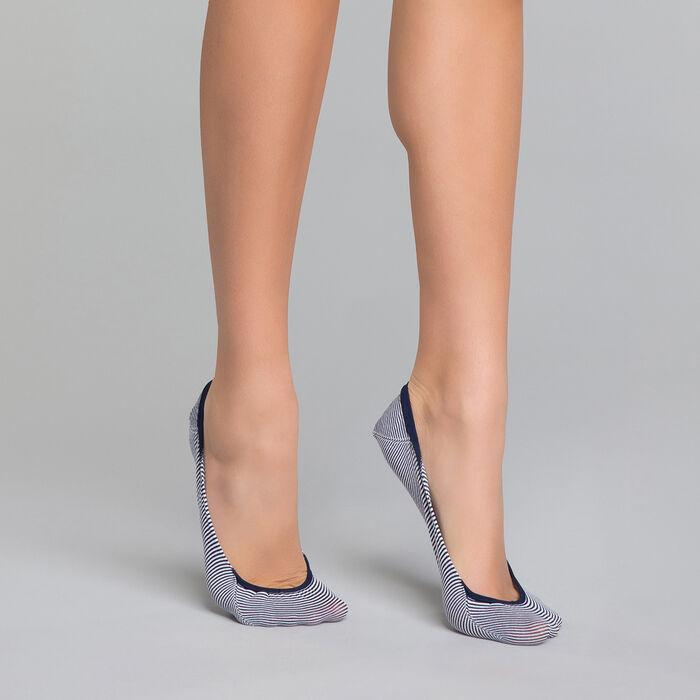 Protège-pieds Femme à rayures bleu marine - Invisifit, , DIM