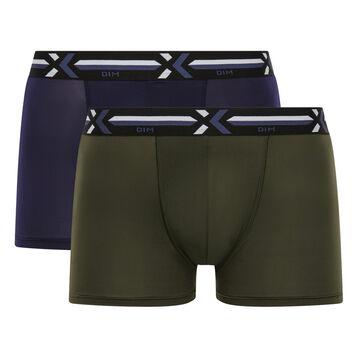 Lot de 2 boxers vert kaki et bleu cobalt - Xtemp Activ, , DIM