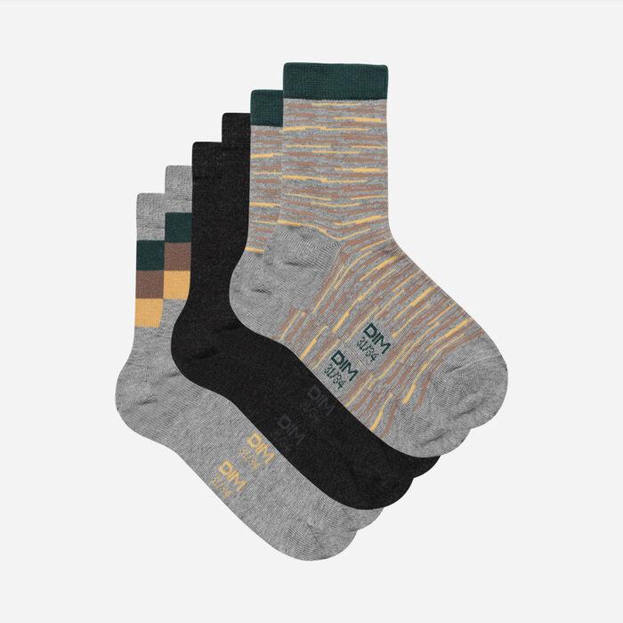 Lot de 3 paires de chaussettes enfant à lignes abstraites Coton Style, , DIM