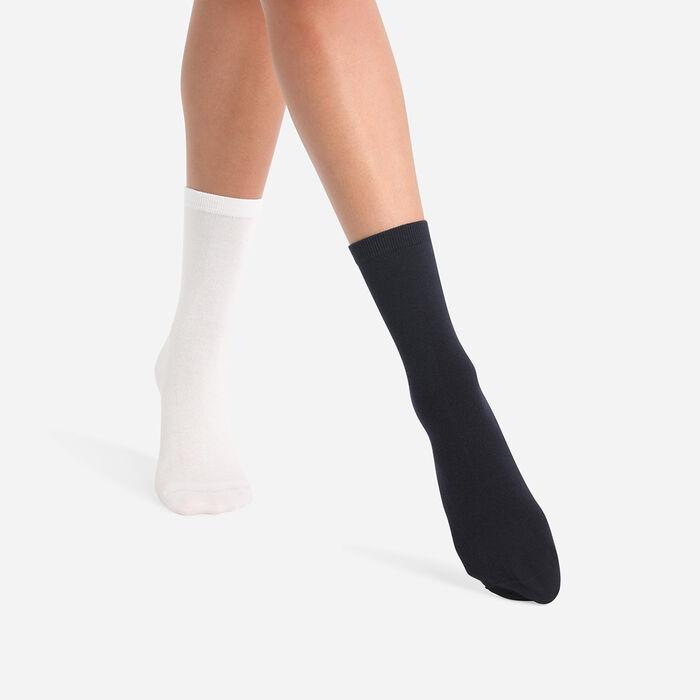 Lot de 2 paires de chaussettes femme Bleu Cachemire Gris Basic Coton, , DIM