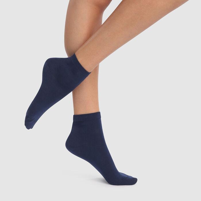 lot de 2 paires de socquettes femmes bleu marine fil d'Écosse Dim, , DIM