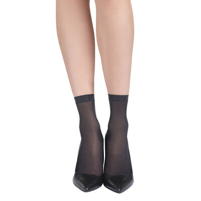 Lot de 4 socquettes noires EcoDIM semi-opaques 30D, , DIM
