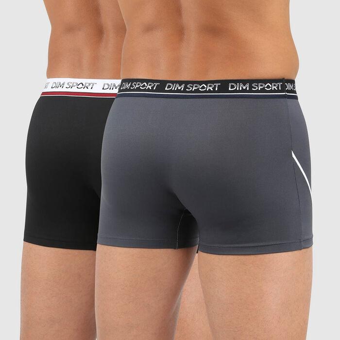 Lot de 2 boxers homme microfibre antitranspirant gris noir Dim Sport, , DIM