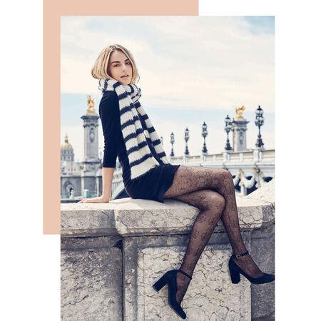 Collant noir motif élégance florale Style 33D. Ref 05YA. N A. Description 9b9ada5f362