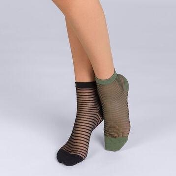 Lot de 2 socquettes à rayures noires et kakis Femme Style-DIM