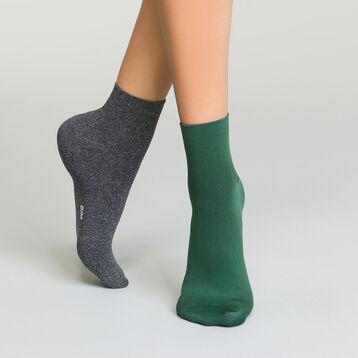 Lot de 2 paires de socquettes microfibre pour femme Anthracite Vert, , DIM