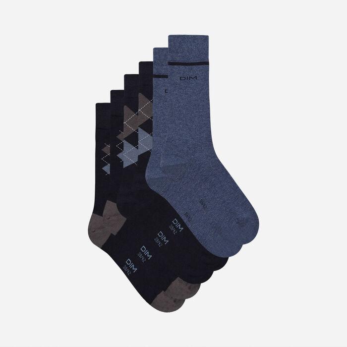 Lot de 3 paires de chaussettes homme motifs écossais Bleu Coton Style, , DIM