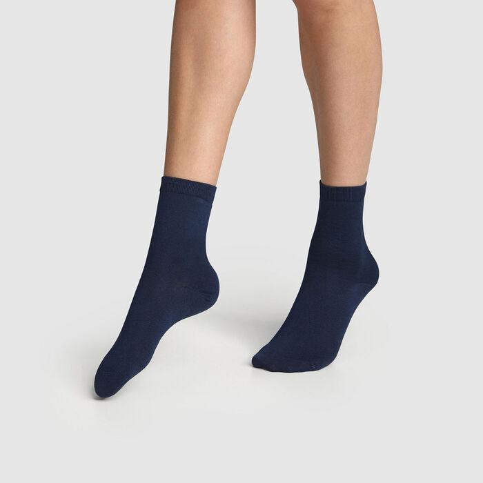 Lot de 2 paires de chaussettes femmes Bleu Marine Coton Mercerisé, , DIM