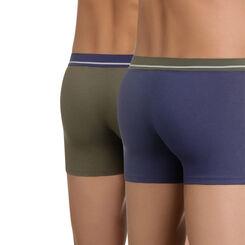 Lot de 2 boxers bleu et vert en coton stretch Soft Touch-DIM