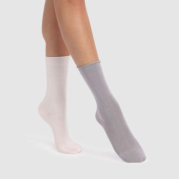 Lot de 2 paires de chaussettes en modal ivoire gris argent Dim Modal, , DIM