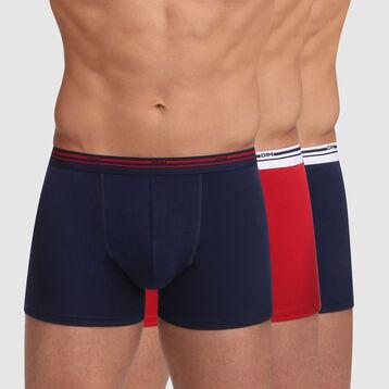 Lot de 3 boxers coton stretch Bleu Denim et Rouge Lave Daily Colors, , DIM