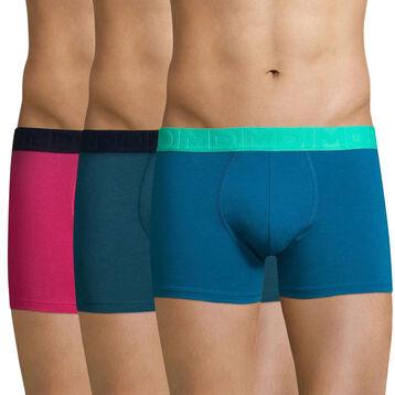 Lot de 3 boxers MIX AND FUN violet et bleu-DIM