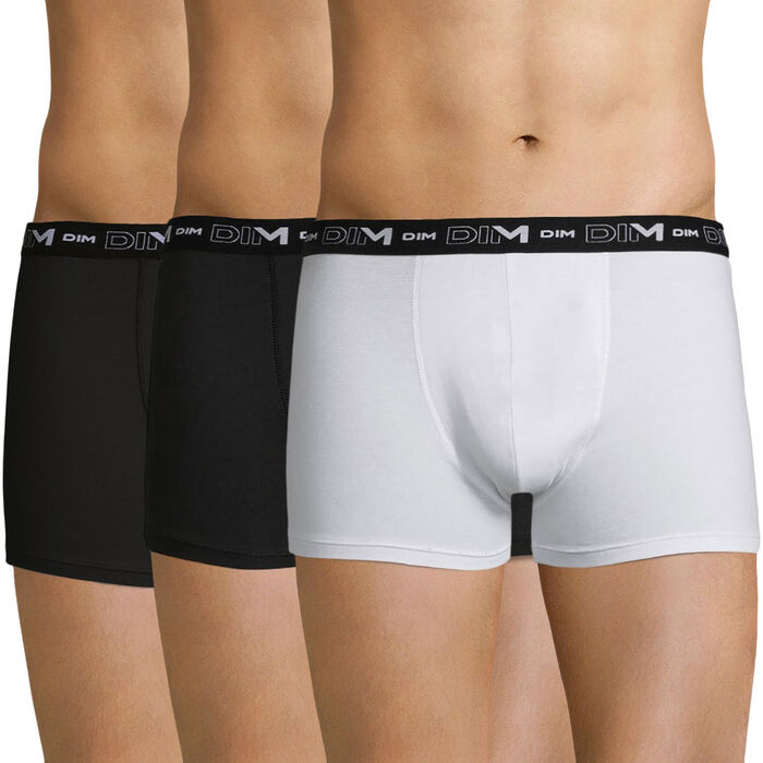 Lot de 3 boxers noirs et blancs Coton Stretch, , DIM