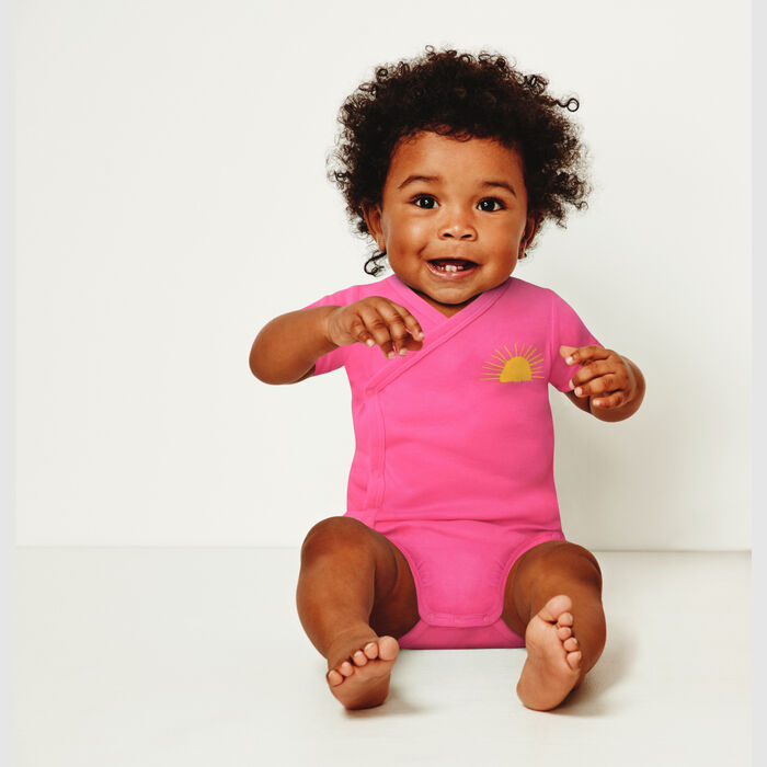 Lot de 2 body coton bio cache coeur à manches courtes Fuchsia Dim Baby, , DIM