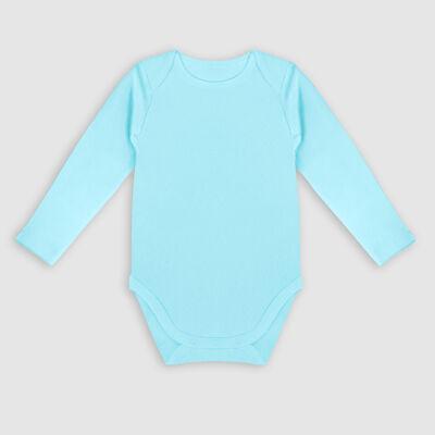 Lot de 3 body coton bio à manches longues et étoiles Bleu Dim Baby, , DIM
