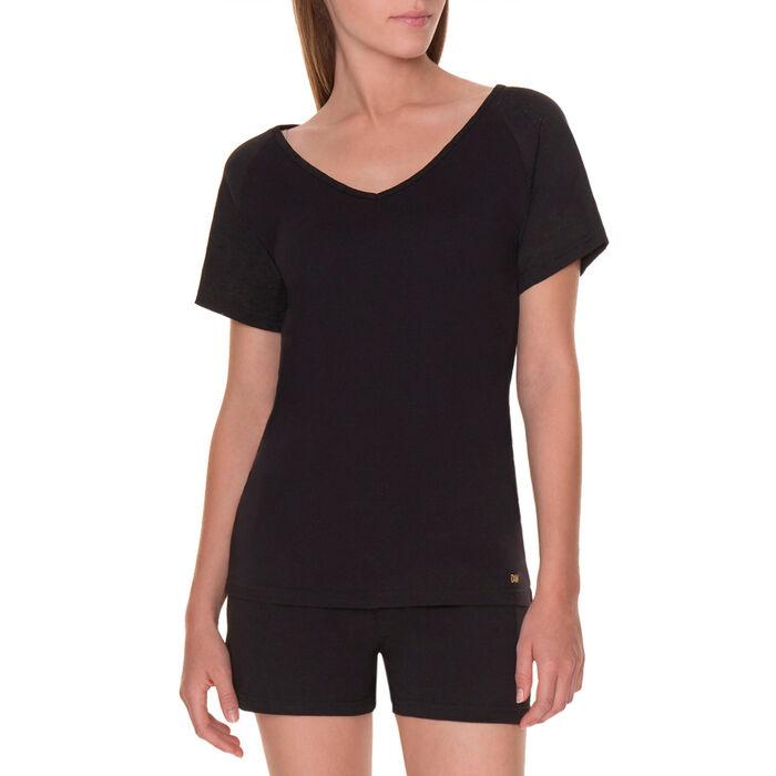 T-shirt de pyjama manches courtes noir et dentelle Femme-DIM