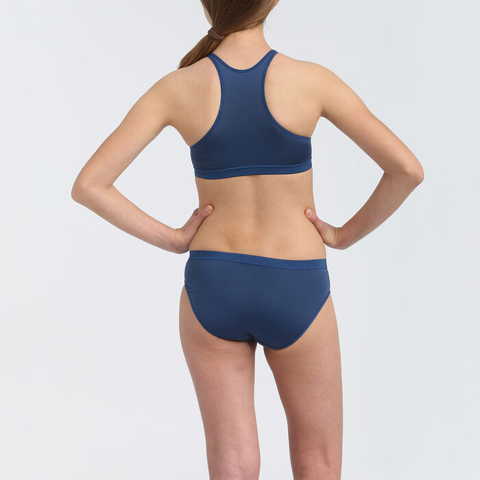 Lot de 2 culottes sport fille en microfibre Bleu Hussard Dim Micro, , DIM