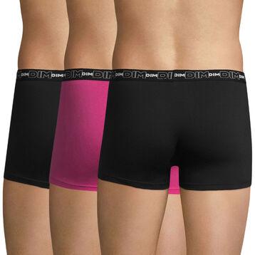 Lot de 3 boxers noir, violet fuschia et noir Coton Stretch-DIM