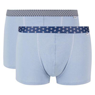 Lot de 2 boxers bleu glacier coton stretch ceinture imprimée Mix and Print, , DIM