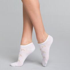 Socquettes courtes femme coton blanches & lurex doré - Dim Coton Style, , DIM