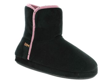 Chaussons montants noirs coutures roses Femme-DIM