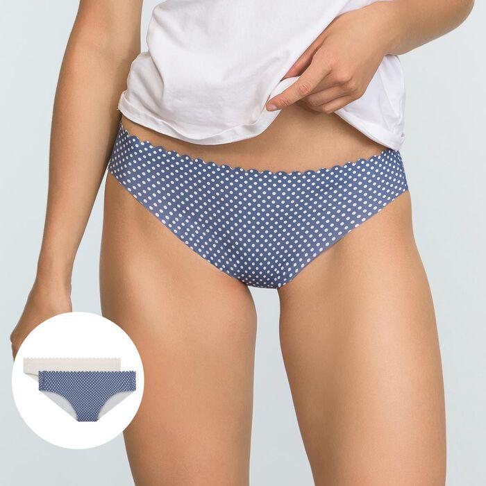 Lot de 2 culottes Bleu Pois et Nacre Body Touch Microfibre, , DIM
