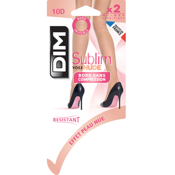 Lot de 2 mi-bas Sublim voile effet nude beige rosé 10D, , DIM