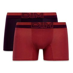 Lot de 2 boxers rouge samba et violet sombre Soft Touch Pop-DIM