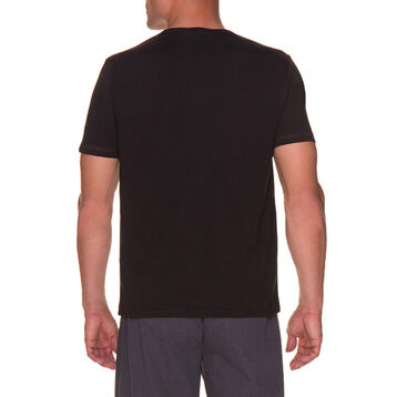 T-shirt de pyjama manches courtes noir à boutonnière Homme-DIM
