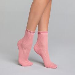 Socquette coton Style effet maillage rose - Dim Coton Style, , DIM