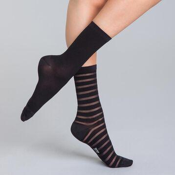 Lot de 2 chaussettes noires à rayures brillantes Femme-DIM