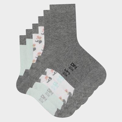 Lot de 3 paires de chaussettes enfant motif sirène Menthe Coton Style, , DIM