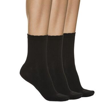 Lot de 4 socquettes noires seconde peau Femme, , DIM